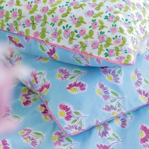 Taie d'oreiller Flora fleurs imprimees col.bleu ciel/rose
