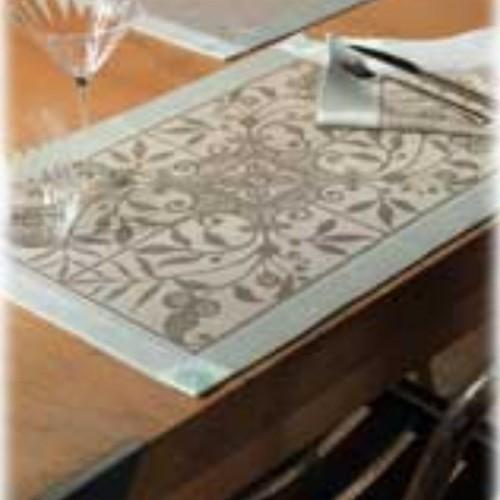 SERVIETTE de table Venezia col.beige cendre, dim.58x58cm, Le Jacquard Français