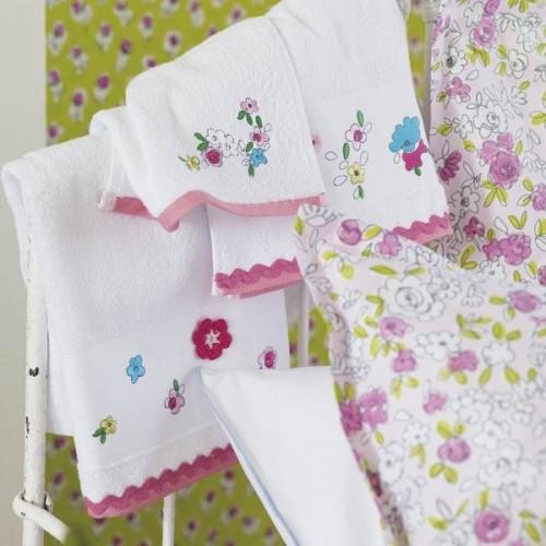 LINGE éponge Daisy daisy col.blanc+fleurs brodees 70x130 DESIGNERS GUILD KIDS