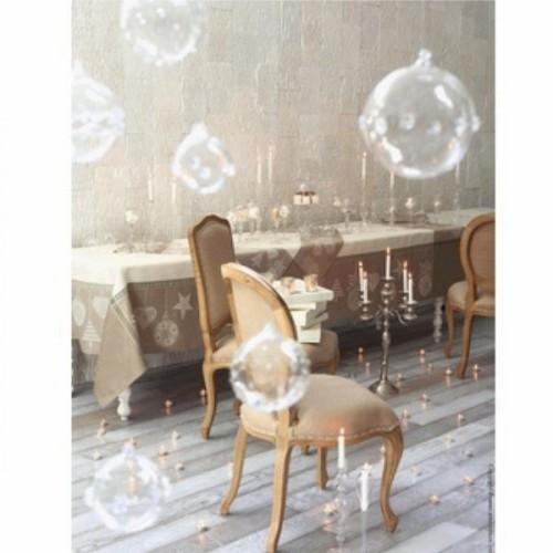 NAPPE  Joyeuses fêtes col. perce-neige, dim 175x175cm, Le Jacquard Français