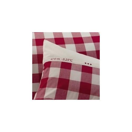 """TAIE d'oreiller """"Le Grand Saut """"col. rouge, dim.50x70cm, Sylvie Thiriez"""