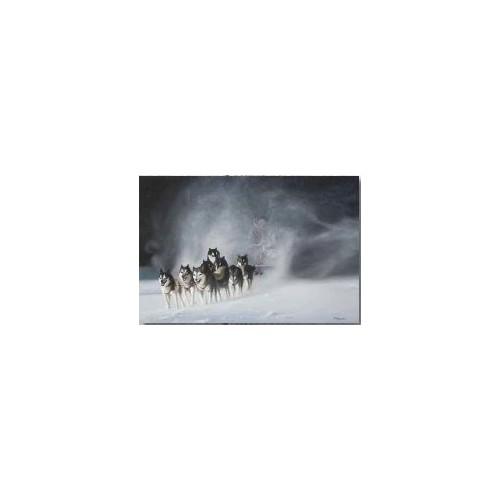 Toile sur cadre Traineau avec Husky, réf.HU003, dim.90x60cm, Art' com