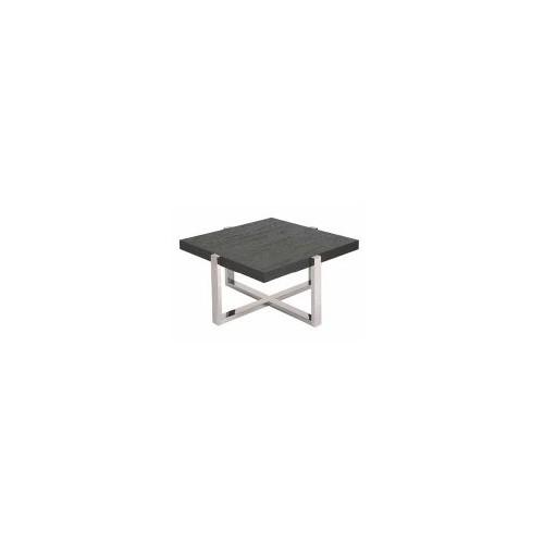 Table basse carrée 80x 80. Branco sobre Branco. Pied Chromé, plateau chêne