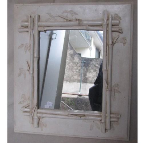 Miroir en platre Daniel Mourre 40 x H 45. Motif Bambou