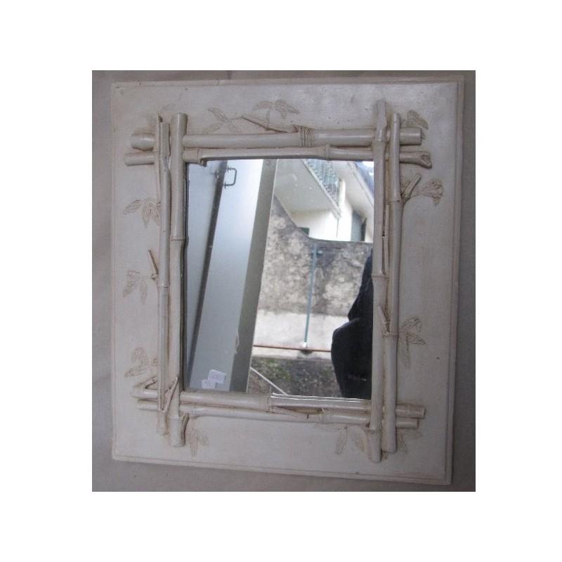 Miroir en platre daniel mourre 40 x h 45 motif bambou for Miroir en bambou