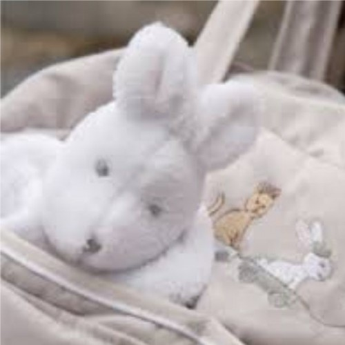 DOUDOU polaire Petites Merveillescol.blanc, dim.25x25cm, S.Thiriez