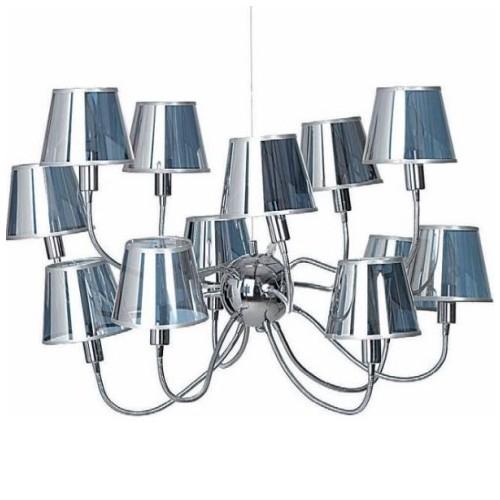 LUSTRE Now's Home 6 lampes flexibles. Abat jours argent. Diam. 60 cm