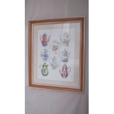 Tableaux 8 Theières Cadre lasuré blanc et bois. Larg. 45 x 55 cm