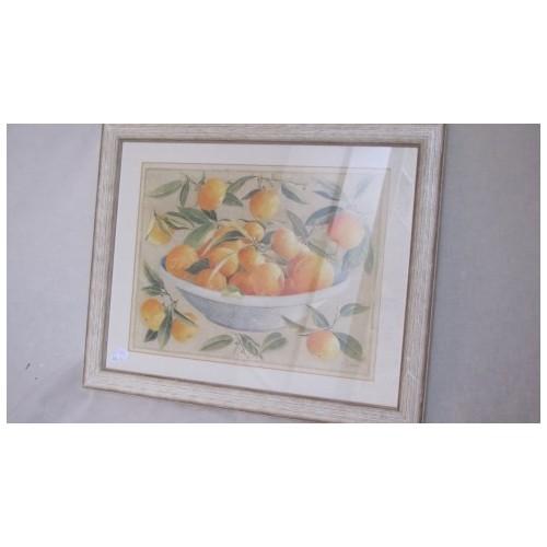 TABLEAU Nature morte Mandarines. Larg 47 cm Haut 40 cm