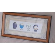 TABLEAU Vases Chinois. Cadre bois bleu et bois. larg 52 cm Haut 27