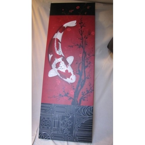 Tableau Poisson Carpe Blanc et rouge. Larg. 67 cm Haut. 185 cm