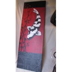 Tableau Poisson Carpe Blanc et Noir. Larg. 67 cm Haut. 185 cm