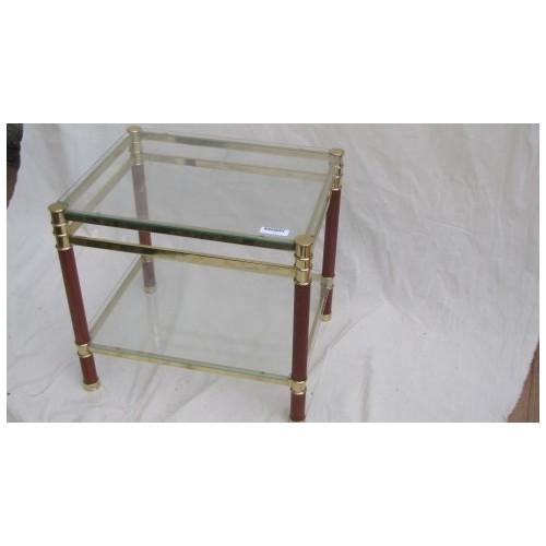 Bout de canape en verre et pieds bois et metal doré Haut. 45 cm Larg. 50 cm Prof. 40 cm
