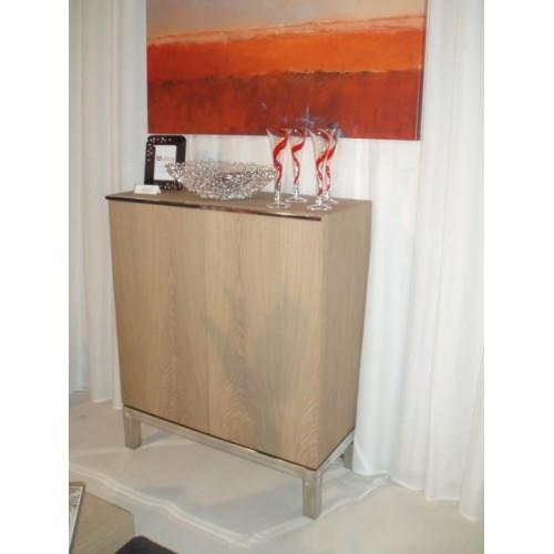 MEUBLE 2 portes Branco sobre Branco H 110 cm x 90 x 45 cm. 2 étagère et 1 tiroir à services