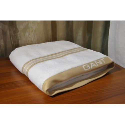 linge éponge GANT 100 X 180 cm blanc avec une ligne beige