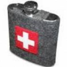 FLASQUE à liqueur avec housse Croix Suisse réf.32-3018 col.gris, Steinlin