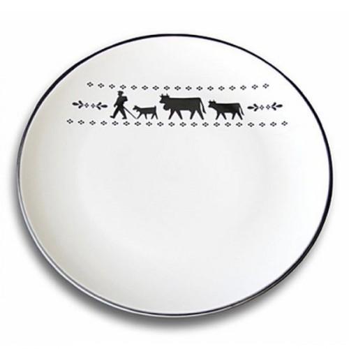 SET de 6 assiettes La Montée à l'Alpage, réf. 20.05.0019, col.blanc et noir, diam.20cm, Steinlin