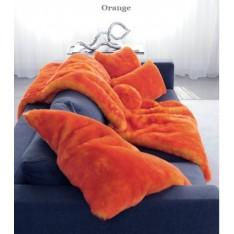 Orange faux fur plaid 140x160 cm Evelyne Prélonge