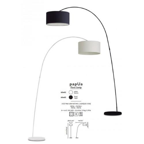 LAMPADAIRE  courbé de salon FARO. Avec abat jour noir. Mod. PAPUA ref 68463. Haut. 200 cm Larg. 38 cm. Prof 115 cm