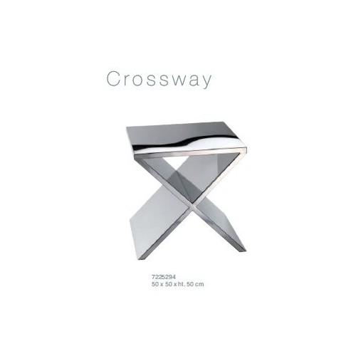 """table """"bout de canapé"""" NOWS HOME en forme de X, métal chrome 50 x 50 cm /H. 50 cm"""