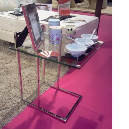 Table en verre et pied Inox Marco Polo. Prof: 50 cm Larg 50 cm Haut 55 cm
