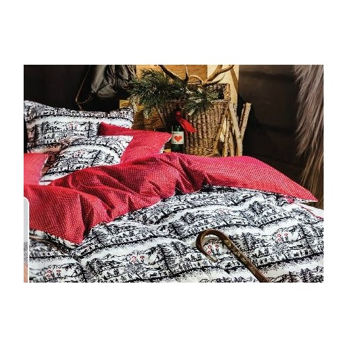 """HOUSSE de couette motifs Découpage noir-blanc, dos rouge et  petits motifs blanc """"Suisse"""", dim.160x210cm, Divina"""