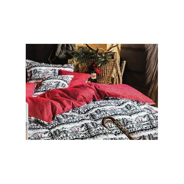 housse de couette motifs d coupage noir blanc dos rouge et petits motifs blanc suisse dim. Black Bedroom Furniture Sets. Home Design Ideas