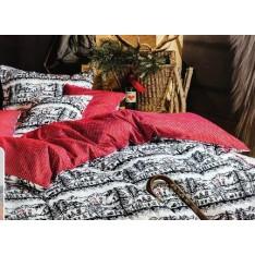"""TAIE d'oreiller motifs découpage noir-blanc, dos rouge et  petits motifs blanc """"Suisse"""", dim.50x70cm, Divina"""
