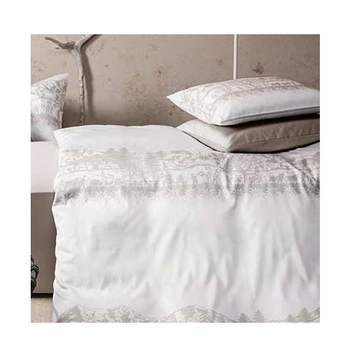 """Taie d'oreiller motifs découpage beige-blanc,  """"Helvetica"""", dim.65x65cm, Divina"""