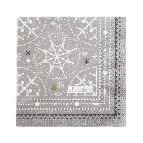 serviettes papier BEAUVILLE - CORAIL col 1 rouge 16,5 x 16,5 cm