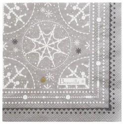 SERVIETTES papier MEGEVE col.3 givre, dim.33 x 33 cm, Beauvillé