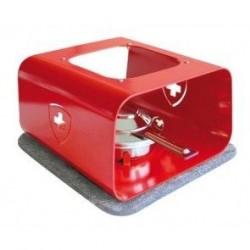 Réchaud à fondue en acier avec croix suisse col rouge, réf.s15012ch, dim.10,7x17x11cm, Steinlin