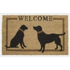 Coco mat with dogs beige-black Mars & More, 73 x 44 cm