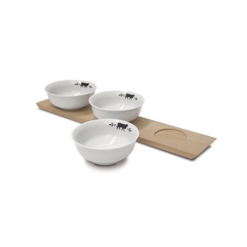 PLANCHE à apéritif avec 3 bols Vache, dim.42x8,5cm, Steinlin