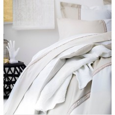 TAIE d'oreiller TOI ET MOI Traverse, beige-blanc, dim.65 x 65 cm, Essix