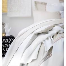 HOUSSE de couette Toi et Moi Traverse, beige-blanc, dim.160x210cm, Essix