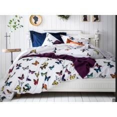 HOUSSE de couette THAIS multi blanc motifs papillons, dim.160x210cm, Essix