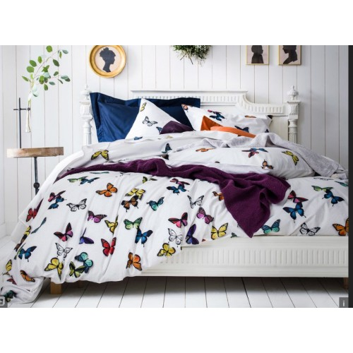 Pillow cover THAIS withe, with butterflies, 65 x 65 cm Essix