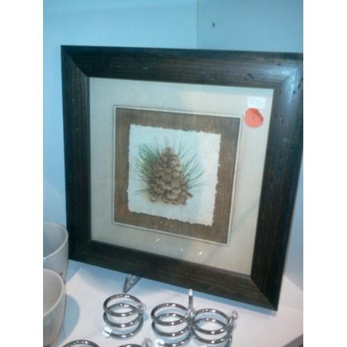 PETIT TABLEAU motif Pomme de pin avec cadre bois