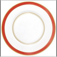 assiette à dîner RAYNAUD - CRISTOBAL blanc bord orange, diam. 27 cm