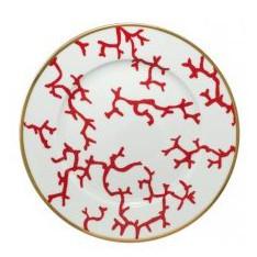 ASSIETTE de présentation RAYNAUD - CRISTOBAL, fond blanc, motifs coraux oranges, diam. 31 cm