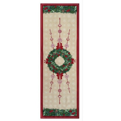 Rivoli Tablecloth, Beauvillé, 11669 col.1 white with roses flowers 170x170cm