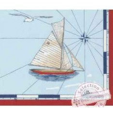 SERVIETTE - VOYAGE de 52 x 52 cm 11522 bleu, bord rouge,  Beauvillé