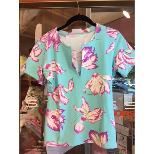 Tee shirt MC Cyclamens Turquoise T3