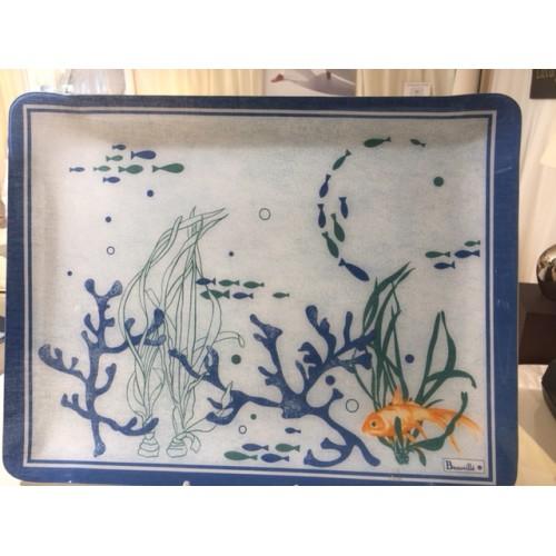 plateau BEAUVILLE - AQUARIUM de 38 x 48 cm bleu