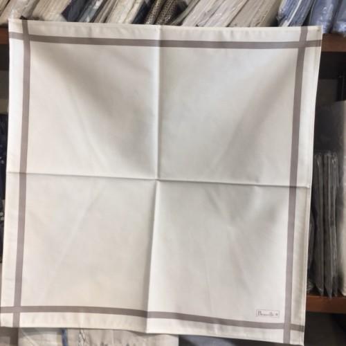 serviette BEAUVILLE - 52 x 52 cm blanc cassé, ligne taupe 11541-35