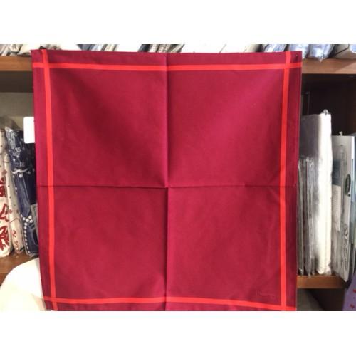 serviette BEAUVILLE - 52 x 52 cm prune, ligne rouge 11541-32