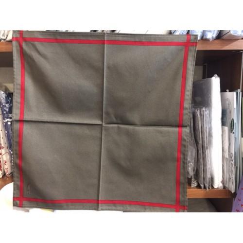 serviette BEAUVILLE - 52 x 52 cm taupe, ligne rouge 11556-1