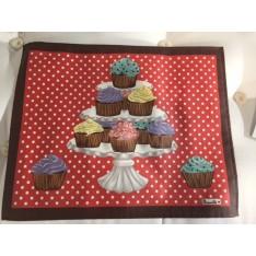 Set enduit DELICES col.1 rouge, avec cupcakes dim.38x48cm, Beauvillé