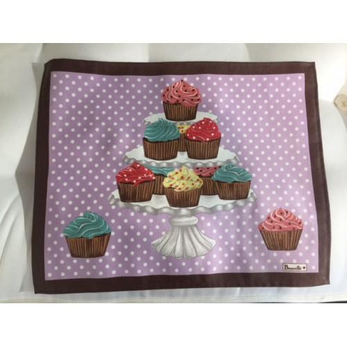 SET enduit  DELICES col.2 mauve, avec cupcakes dim.38x48cm, Beauvillé